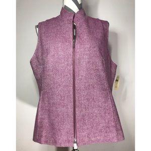 Coldwater Creek purple herringbone zip up vest